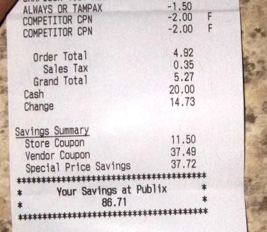 Publix haul shopping trip coupons